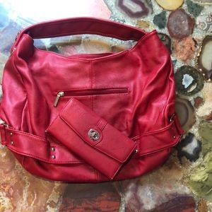 Charming Charlie's Red Shoulder Bag and Wallet